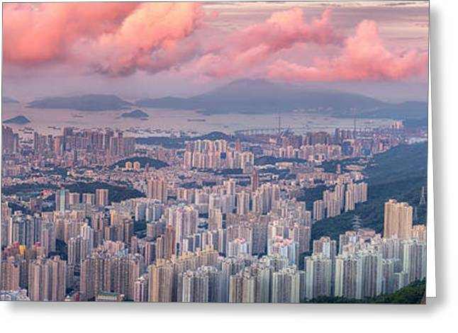 Landscape For Hong Kong City Greeting Card by Anek Suwannaphoom