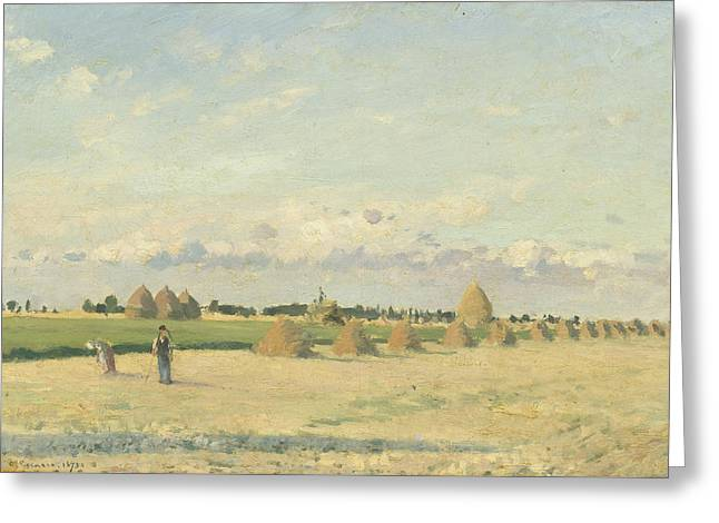 Outlook Paintings Greeting Cards - Landscape - Ile-de-france Greeting Card by Camille Pissarro