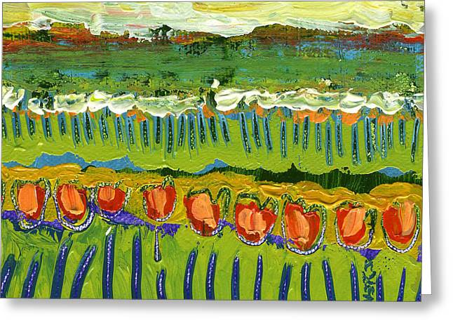 Abstract Tulips Greeting Cards - Landscape in Green and Orange Greeting Card by Jennifer Lommers