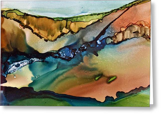 Alcohol Inks Greeting Cards - Landscape in Ink Greeting Card by Joanne Smoley