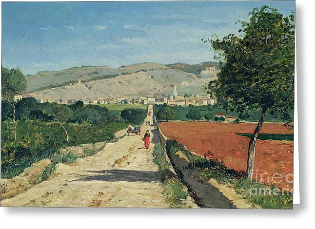 Rolling Hills Greeting Cards - Landscape in Provence Greeting Card by Paul Camille Guigou