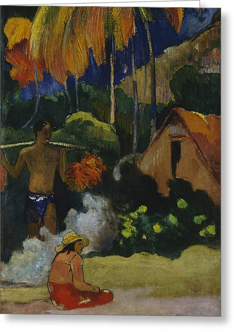 Gauguin Style Greeting Cards - Landscape in Tahiti  Greeting Card by Paul Gauguin