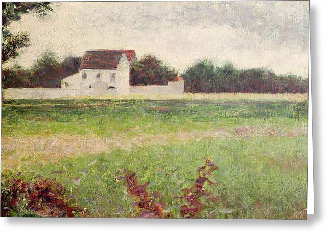 Georges Pierre Greeting Cards - Landscape in the Ile de France Greeting Card by Georges Pierre Seurat