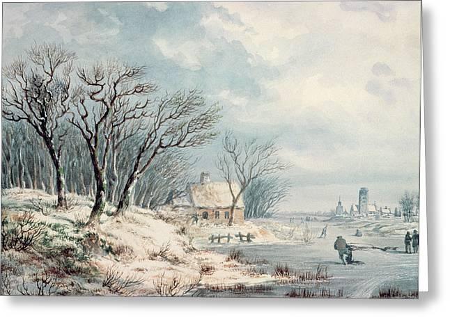 Frozen River Greeting Cards - Landscape in Winter Greeting Card by JJ Verreyt