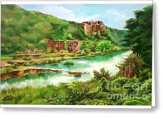 Caves Jewelry Greeting Cards - Landscape Indian Caves in Andhra Pradesh Greeting Card by Kalpana Talpade Ranadive