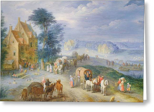 Horse And Cart Greeting Cards - Landscape Greeting Card by Joseph van Bredael