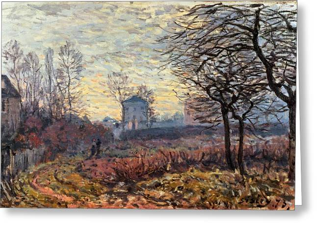 Windswept Paintings Greeting Cards - Landscape near Louveciennes Greeting Card by Alfred Sisley
