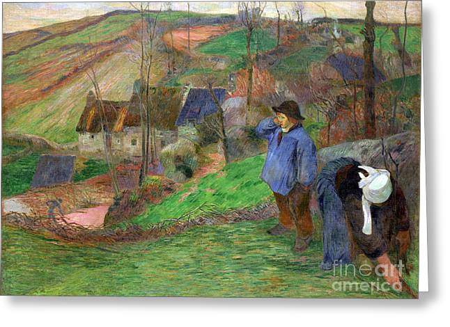 Vintage Painter Greeting Cards - Landscape of Brittany Greeting Card by Gauguin