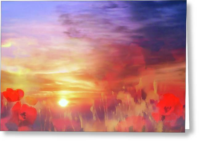 Landscape Of Dreaming Poppies Greeting Card by Valerie Anne Kelly