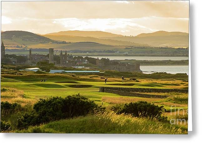 Landscape Of St Andrews Home Of Golf Greeting Card by MaryJane Armstrong