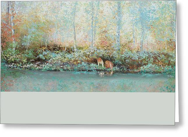Reflections Of Trees In River Greeting Cards - Landscape Painting - Looking for tadpoles Greeting Card by Jan Matson