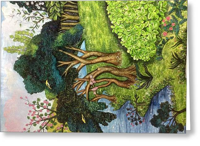 Lush Green Reliefs Greeting Cards - Landscape  Greeting Card by Poonam S kohli