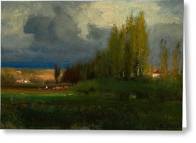 Landscape Study Greeting Card by George Inness