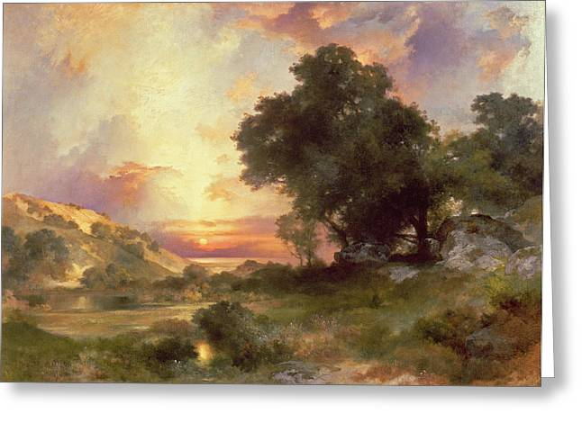 Sunset Greeting Cards Paintings Greeting Cards - Landscape Greeting Card by Thomas Moran