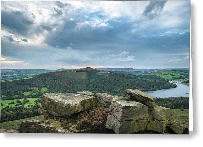 Landscape View From Bamford Edge In Peak District Towards Ladybo Greeting Card by Matthew Gibson