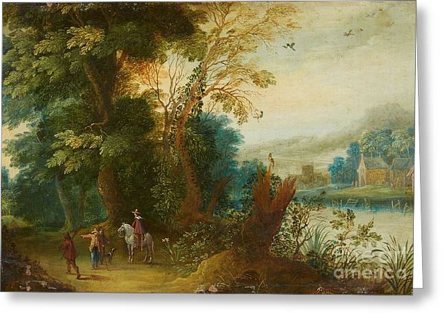 Flemish School; (17th Century) Greeting Cards - Landscape with a Horseman Greeting Card by MotionAge Designs