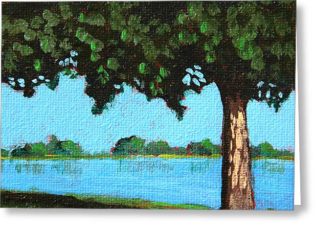 Green Day Paintings Greeting Cards - Landscape With a Lake and tree Greeting Card by Masha Batkova