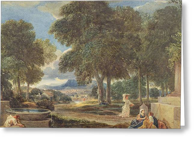 Flowing Wells Greeting Cards - Landscape with a Man Washing his Feet at a Fountain Greeting Card by David Cox