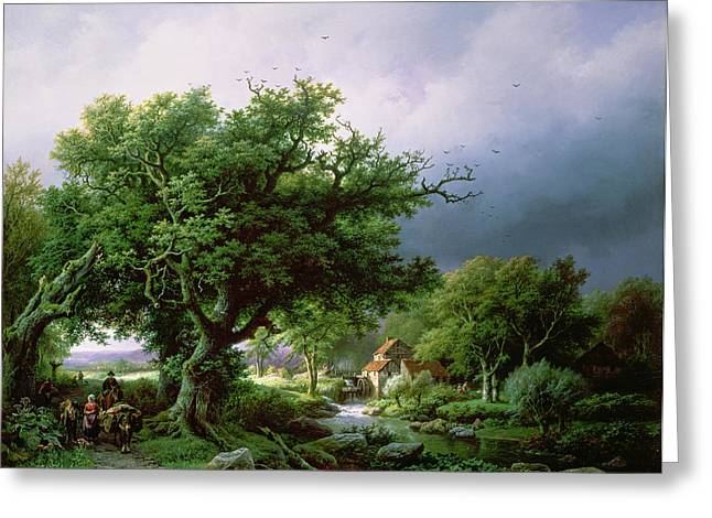 Old Country Roads Paintings Greeting Cards - Landscape with a Mill Greeting Card by Barend Cornelis Koekkoek
