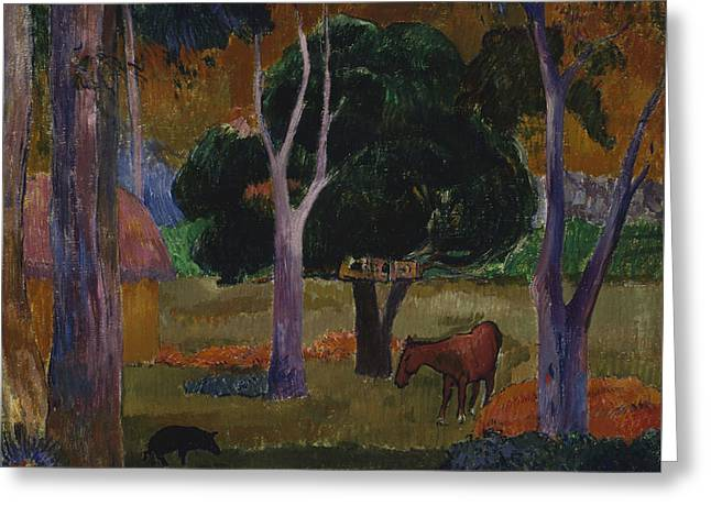 Gauguin Style Greeting Cards - Landscape with a Pig and a Horse  Greeting Card by Paul Gauguin