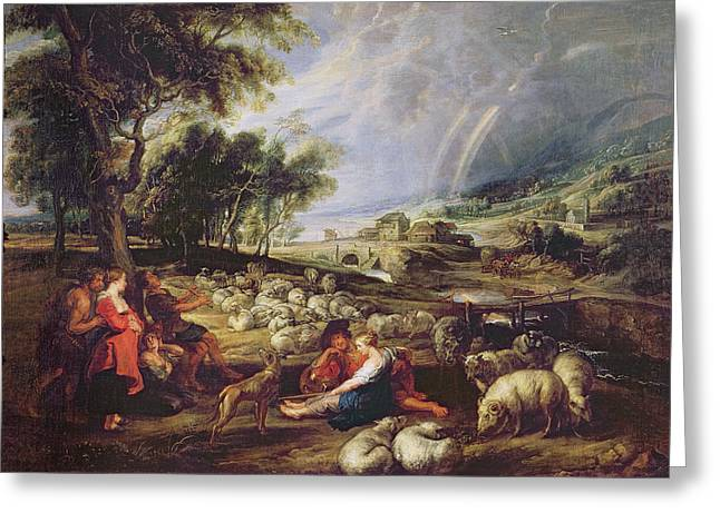 1640 Greeting Cards - Landscape with a Rainbow Greeting Card by Rubens