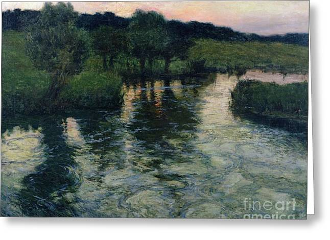 Running Water Greeting Cards - Landscape with a River Greeting Card by Fritz Thaulow