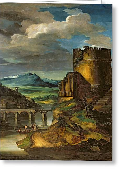 Moat Mountain Greeting Cards - Landscape with a Tomb  Greeting Card by Theodore Gericault