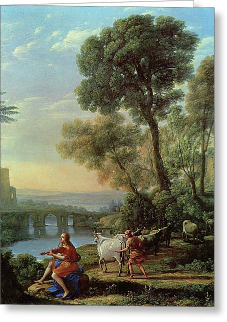 Landscape With Apollo And Mercury Greeting Card by Claude Lorrain