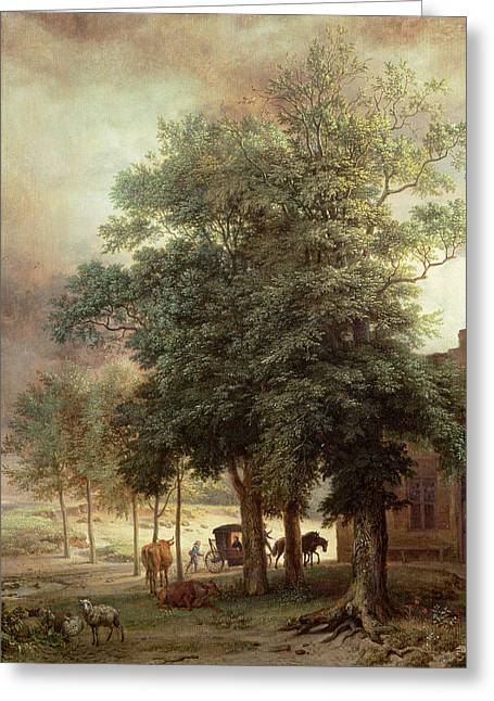 Tree Roots Paintings Greeting Cards - Landscape with carriage or House beyond the trees Greeting Card by Paulus Potter