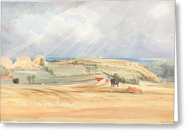 Prospects Greeting Cards - Landscape With Cattle Greeting Card by James Bulwer