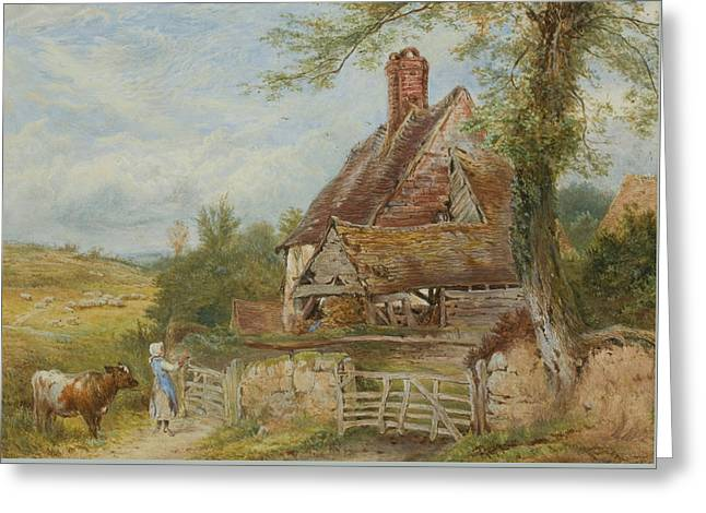 Landscape With Cottage, Girl And Cow Greeting Card by Myles Birket Foster