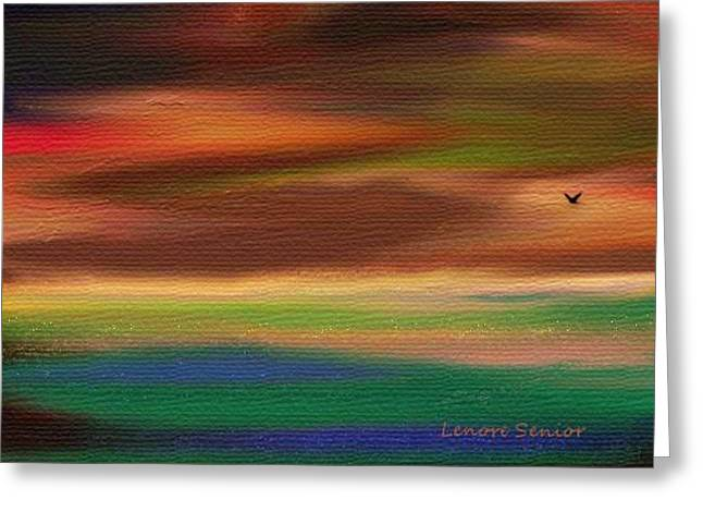 Beige Abstract Greeting Cards - Landscape with Crow Greeting Card by Lenore Senior