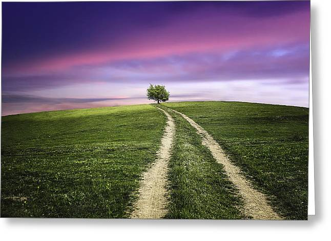 Arable Greeting Cards - Landscape with dramatic sky Greeting Card by Bess Hamiti