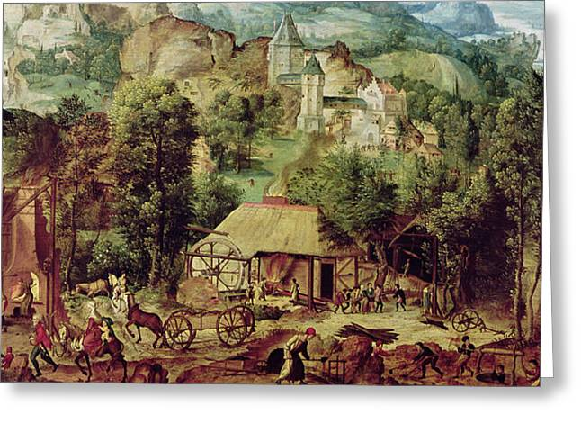 Horse And Cart Paintings Greeting Cards - Landscape with Forge  Greeting Card by Herri met de Bles