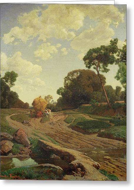 Ruths; Valentin (1825-1905) Greeting Cards - Landscape with Haywagon Greeting Card by Valentin Ruths