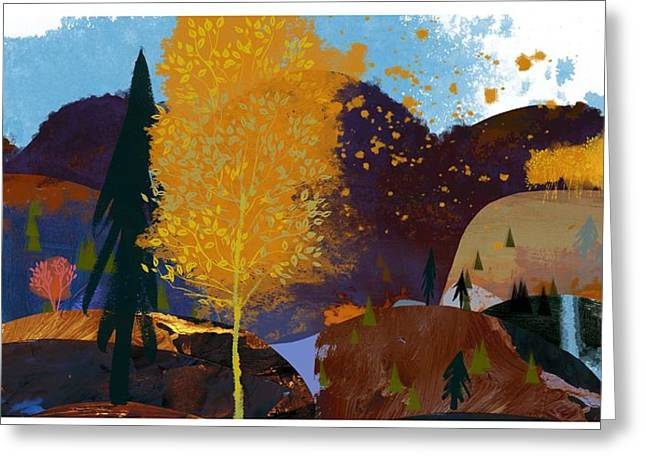 Fall Trees Greeting Cards - Landscape With Hills, Autumn Trees Greeting Card by Ink and Main