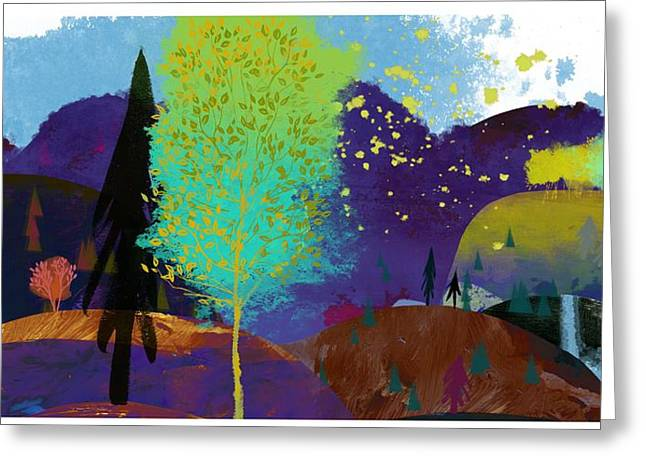 Fall Trees Greeting Cards - Landscape With Hills In Purple Greeting Card by Ink and Main