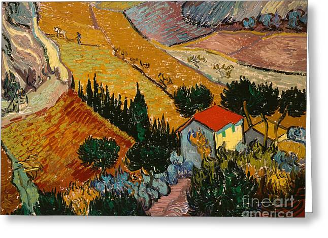 Farmers Field Greeting Cards - Landscape with House and Ploughman Greeting Card by Vincent Van Gogh
