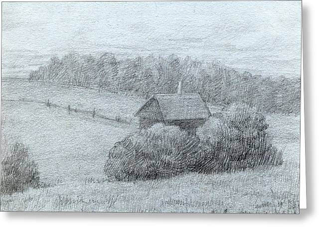 Stormy Weather Drawings Greeting Cards - Landscape with the Little House Greeting Card by Elena Senina