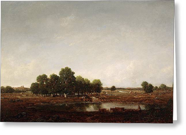 Bog Greeting Cards - Landscape with marsh Greeting Card by Theodore Rousseau