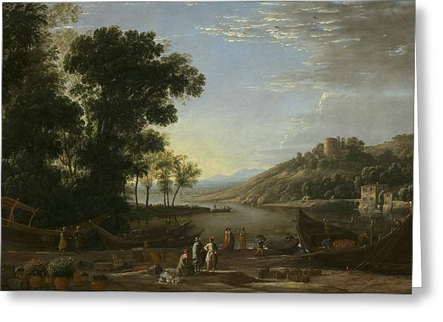 Prospects Greeting Cards - Landscape With Merchants Greeting Card by Claude Lorrain