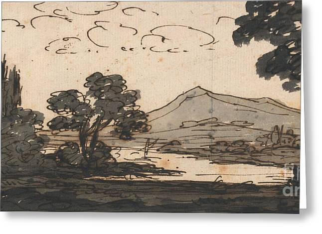 Mountains And Lake Greeting Cards - Landscape with Mountain and Lake Greeting Card by Alexander Cozens