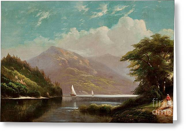 Landscape With Mountains Greeting Cards - Landscape with Mountain Lake and Figures Greeting Card by Celestial Images