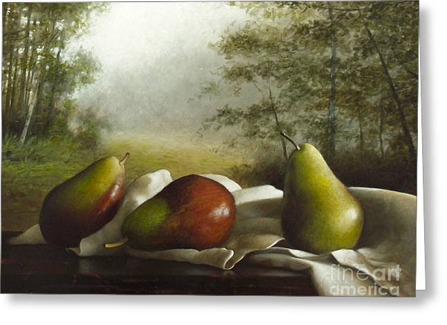 Landscape With Pears Greeting Card by Larry Preston