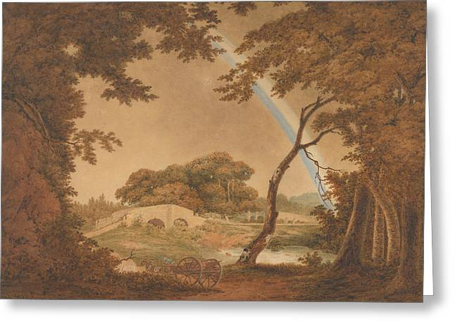 Landscape With Rainbow, View Near Chesterfield Greeting Card by Joseph Wright
