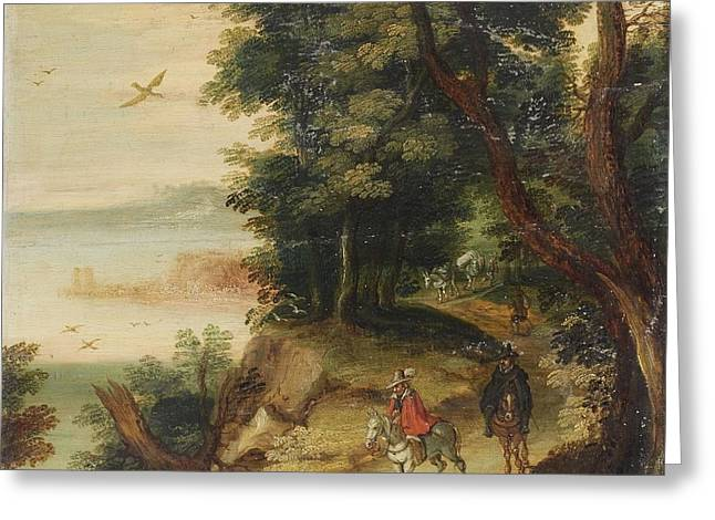 Flemish School; (17th Century) Greeting Cards - Landscape With Riders Greeting Card by MotionAge Designs