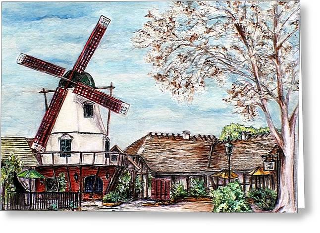 Wooden Building Drawings Greeting Cards - Landscape with the windmill Solvang California Greeting Card by Danuta Bennett