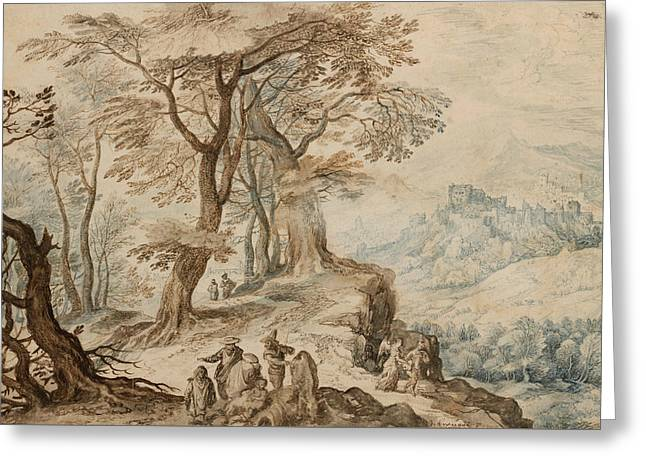 Angel Drawings Greeting Cards - Landscape with Tobias and the Angel Greeting Card by Jan Brueghel the Younger