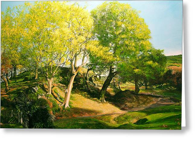 Landscape With Trees In Wales Greeting Card by Harry Robertson