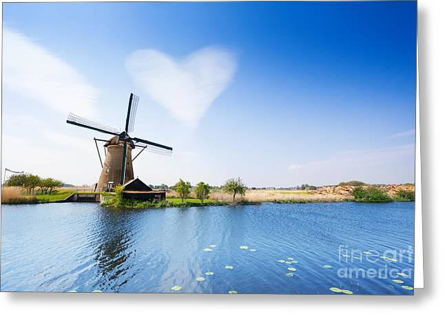Rustenburg Greeting Cards - Landscape with water pumping windmill Greeting Card by Sergey Novikov